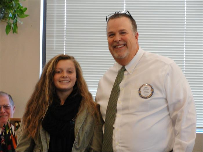 Rotarian Dave Kindell and student Kaylee Wheat