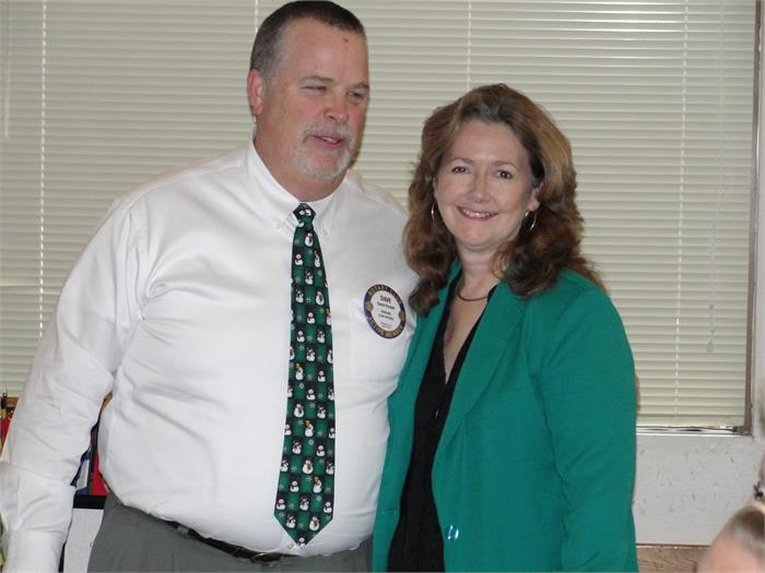 Rotarian Dave Kindell and November Teacher of the Month, Mrs. Jenny Vance, Brookville Intermediate School.