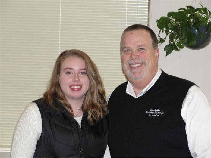 February Student of the Month Mariah Mills with Rotarian Dave Kindell