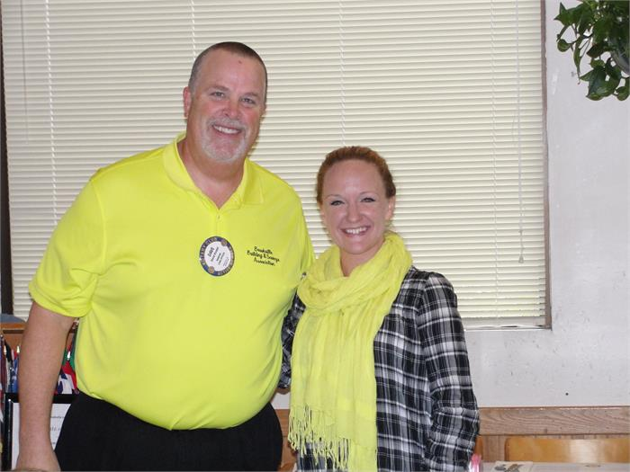 Rotarian Dave Kindell and guidance counselor Mrs. Mahaffey