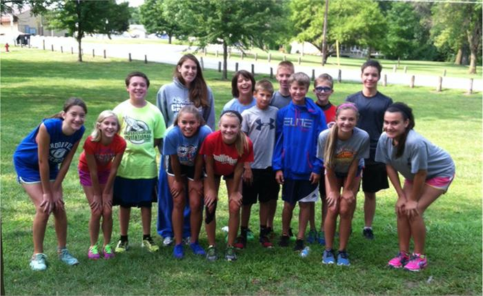 Jr. High Cross Country Team working out over the summer