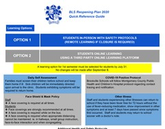 BLS Reopening Plan 2020 - Quick Reference Guide