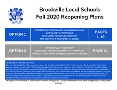 Brookville Local Schools Opening Plans Fall 2020