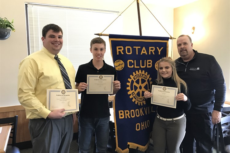 March Rotary Honorees: Aleina Wells, Kenton Osswald and Mr. Broerman with Rotarian Mr. Kindell