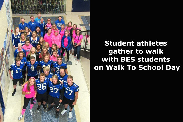 Student Athletes on walk to school day
