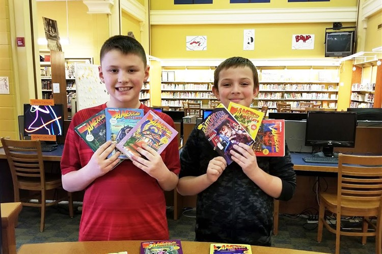 4th Grade Writing contest winners and their winnings!