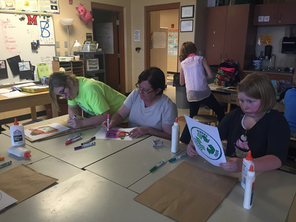 Decorating grocery bags for Earth Day