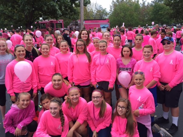 Brookville Schools participated in and donated $9,600 to the Pink Ribbon Girls as part of the district wellness goals for 2016